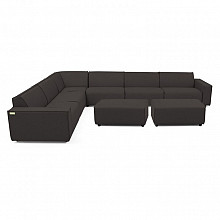 Icon loungeset 10-zits hoek + 2 hockers small (links) div. kleuren