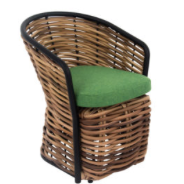 Cocoon dining armchair 60, biculair weaving Mocca (20 mm), Bee Wett seat cushion Green